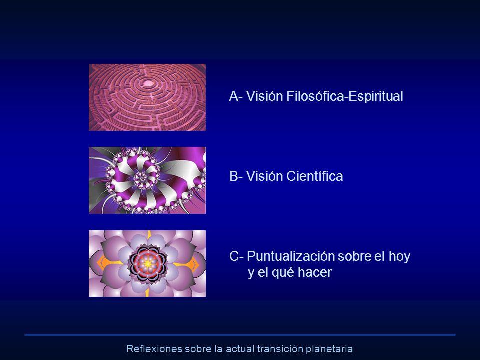 Reflexiones sobre la actual transición planetaria A- Visión Filosófica-Espiritual B- Visión Científica C- Puntualización sobre el hoy y el qué hacer