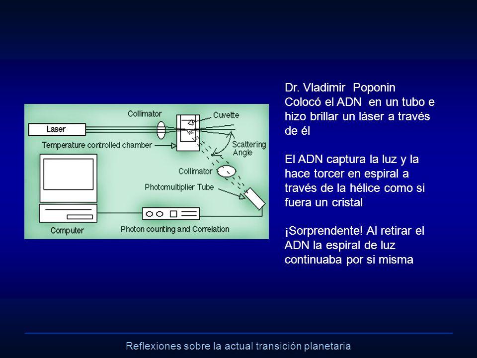 Reflexiones sobre la actual transición planetaria Dr. Vladimir Poponin Colocó el ADN en un tubo e hizo brillar un láser a través de él El ADN captura