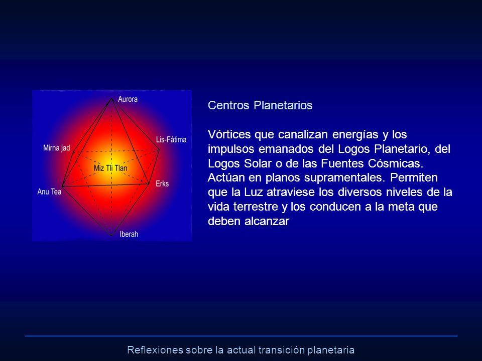 Reflexiones sobre la actual transición planetaria Centros Planetarios Vórtices que canalizan energías y los impulsos emanados del Logos Planetario, de
