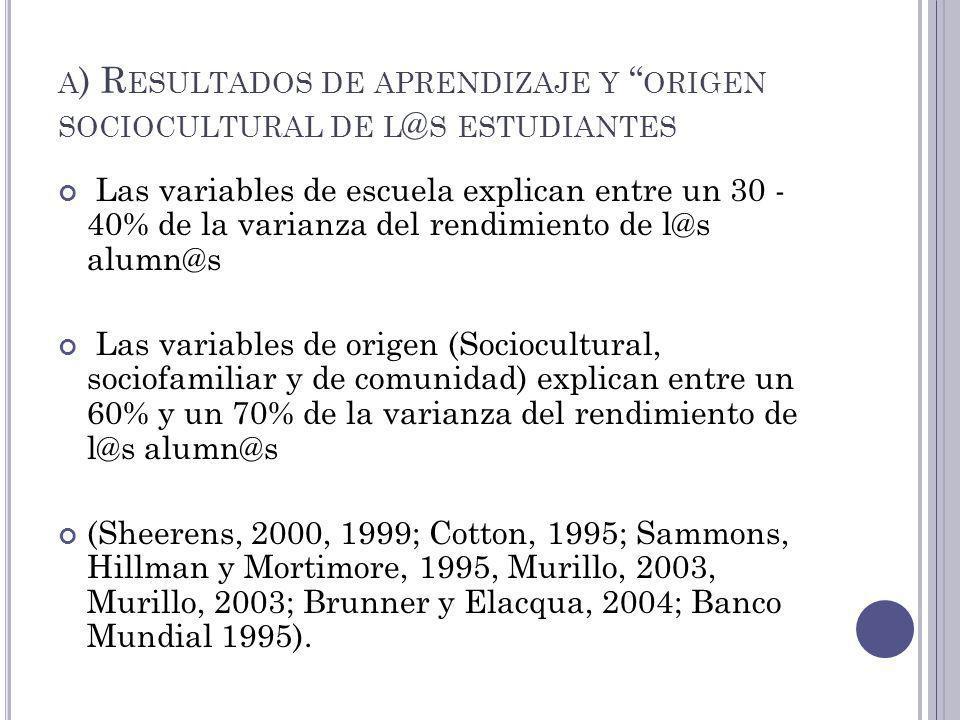 A ) R ESULTADOS DE APRENDIZAJE Y ORIGEN SOCIOCULTURAL DE L @ S ESTUDIANTES Las variables de escuela explican entre un 30 - 40% de la varianza del rend