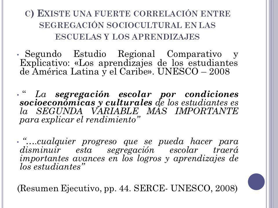 C ) E XISTE UNA FUERTE CORRELACIÓN ENTRE SEGREGACIÓN SOCIOCULTURAL EN LAS ESCUELAS Y LOS APRENDIZAJES Segundo Estudio Regional Comparativo y Explicati