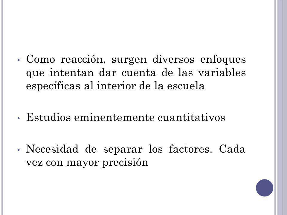 F ACTORES COMO CARACTERÍSTICAS DE LA ORGANIZACIÓN ESCOLAR DE LAS ESCUELAS EFICACES 1.