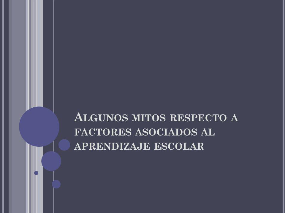 A LGUNOS MITOS RESPECTO A FACTORES ASOCIADOS AL APRENDIZAJE ESCOLAR