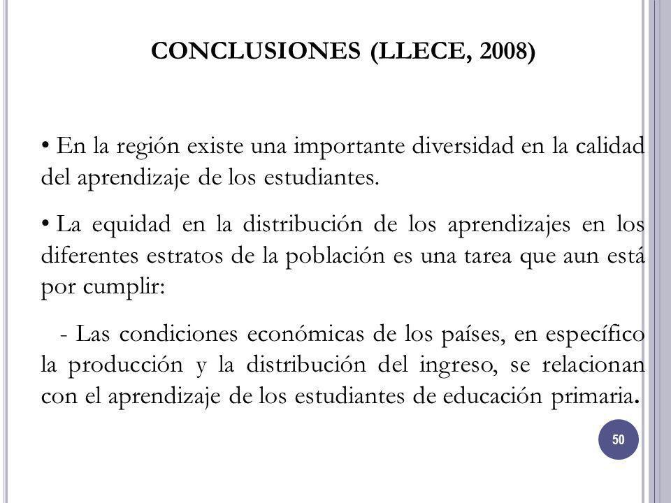 50 CONCLUSIONES (LLECE, 2008) En la región existe una importante diversidad en la calidad del aprendizaje de los estudiantes. La equidad en la distrib