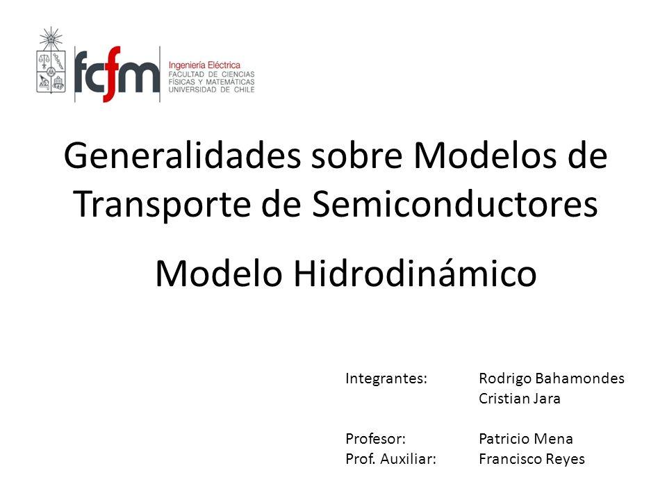 Generalidades sobre Modelos de Transporte de Semiconductores Modelo Hidrodinámico Integrantes: Rodrigo Bahamondes Cristian Jara Profesor:Patricio Mena