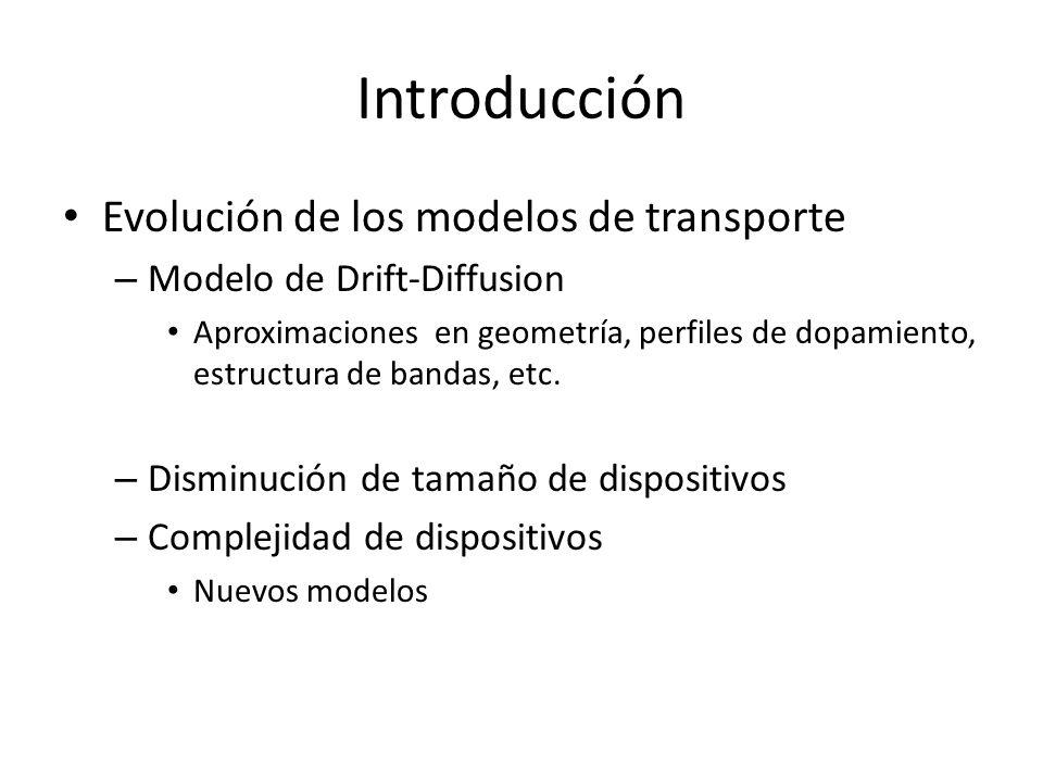 Introducción Evolución de los modelos de transporte – Modelo de Drift-Diffusion Aproximaciones en geometría, perfiles de dopamiento, estructura de ban