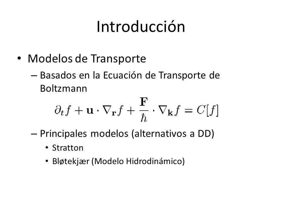 Modelos de Transporte – Basados en la Ecuación de Transporte de Boltzmann – Principales modelos (alternativos a DD) Stratton Bløtekjær (Modelo Hidrodi