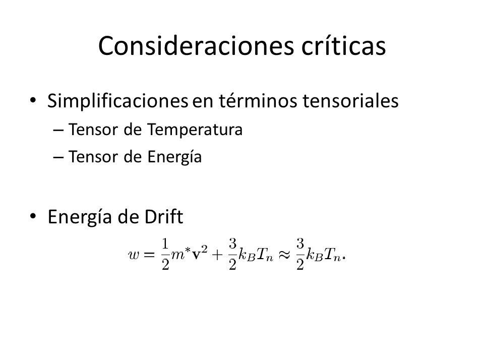 Consideraciones críticas Simplificaciones en términos tensoriales – Tensor de Temperatura – Tensor de Energía Energía de Drift