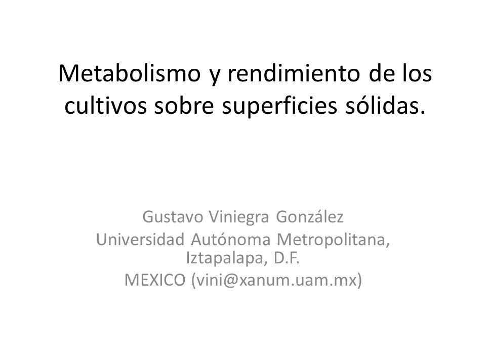 Metabolismo y rendimiento de los cultivos sobre superficies sólidas. Gustavo Viniegra González Universidad Autónoma Metropolitana, Iztapalapa, D.F. ME