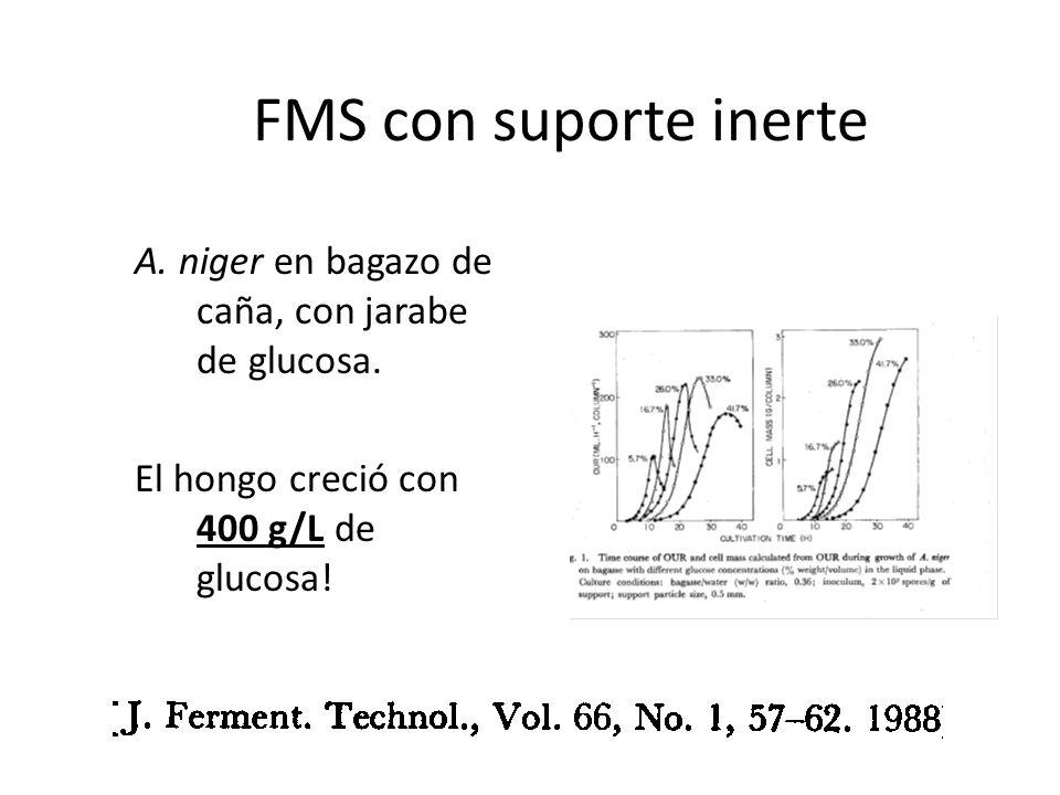 FMS con suporte inerte A. niger en bagazo de caña, con jarabe de glucosa. El hongo creció con 400 g/L de glucosa!
