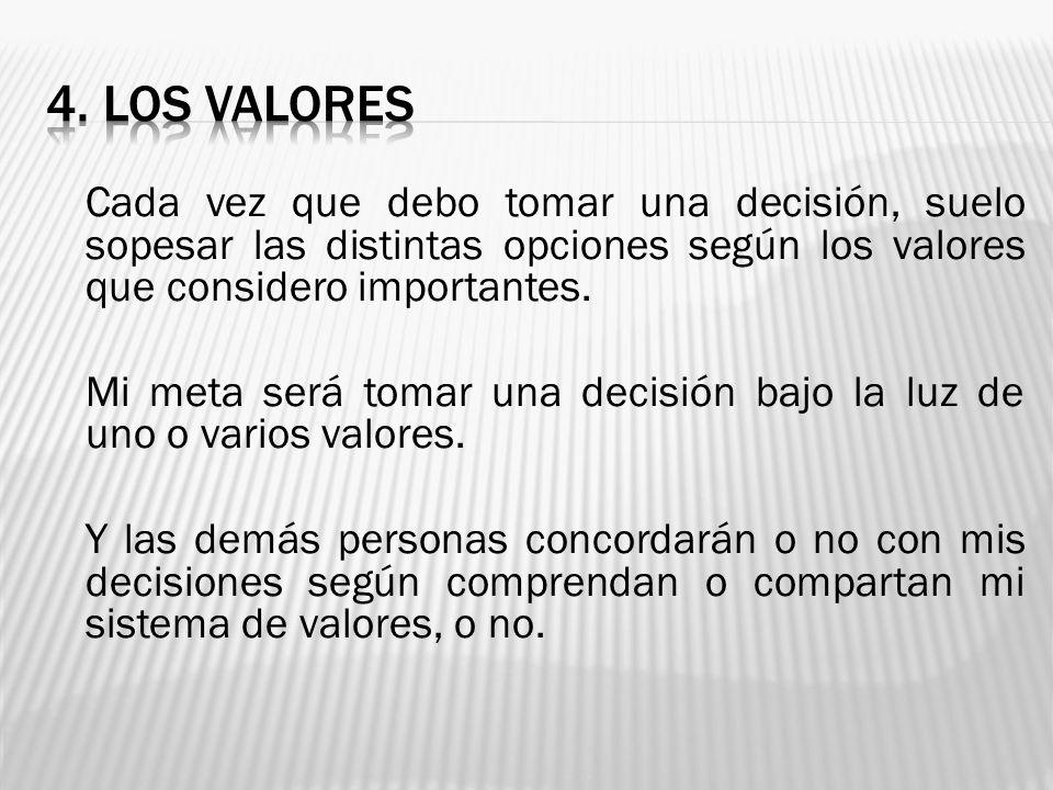 Cada vez que debo tomar una decisión, suelo sopesar las distintas opciones según los valores que considero importantes. Mi meta será tomar una decisió
