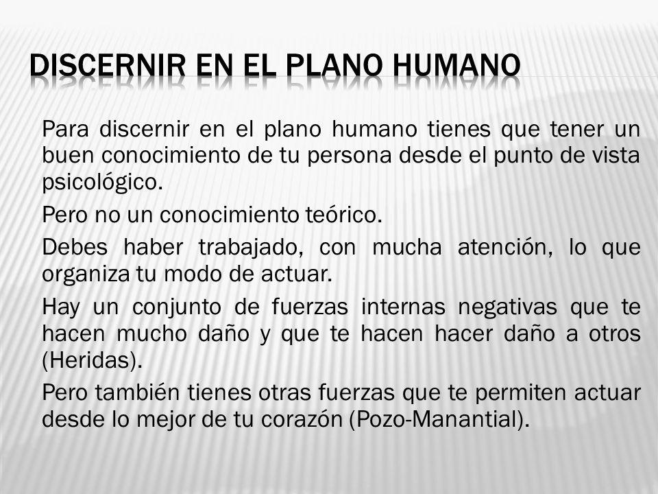 Para discernir en el plano humano tienes que tener un buen conocimiento de tu persona desde el punto de vista psicológico. Pero no un conocimiento teó