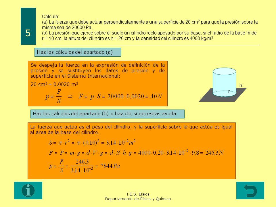 I.E.S. Élaios Departamento de Física y Química Calcula: (a) La fuerza que debe actuar perpendicularmente a una superficie de 20 cm 2 para que la presi