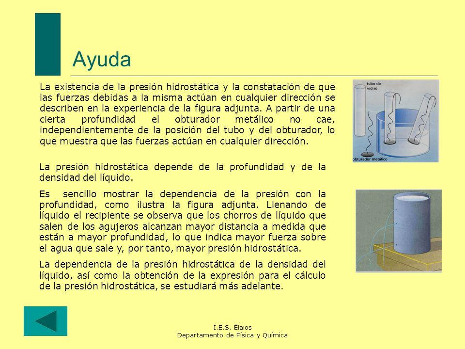 I.E.S. Élaios Departamento de Física y Química Ayuda La existencia de la presión hidrostática y la constatación de que las fuerzas debidas a la misma