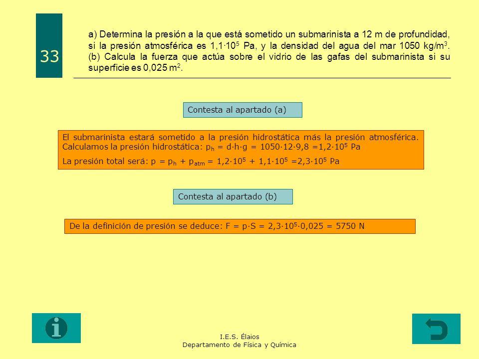 I.E.S. Élaios Departamento de Física y Química a) Determina la presión a la que está sometido un submarinista a 12 m de profundidad, si la presión atm