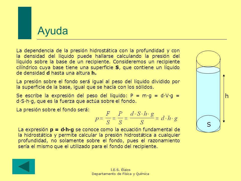 I.E.S. Élaios Departamento de Física y Química Ayuda La dependencia de la presión hidrostática con la profundidad y con la densidad del líquido puede