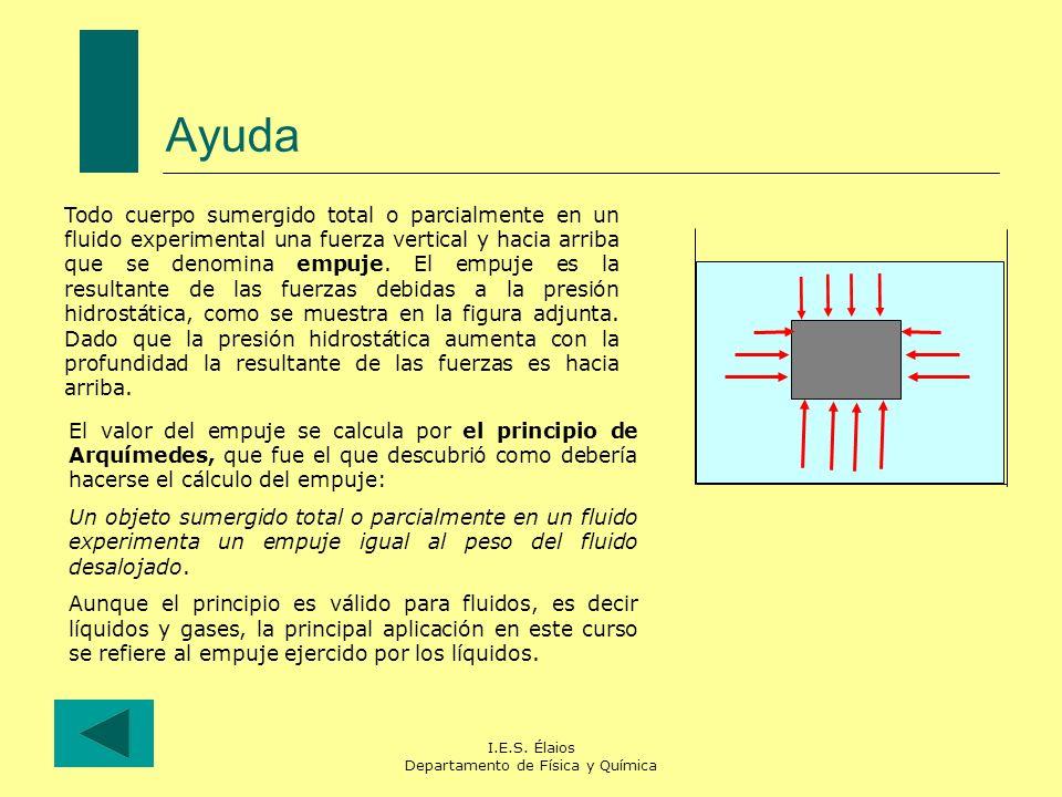 I.E.S. Élaios Departamento de Física y Química Ayuda Todo cuerpo sumergido total o parcialmente en un fluido experimental una fuerza vertical y hacia