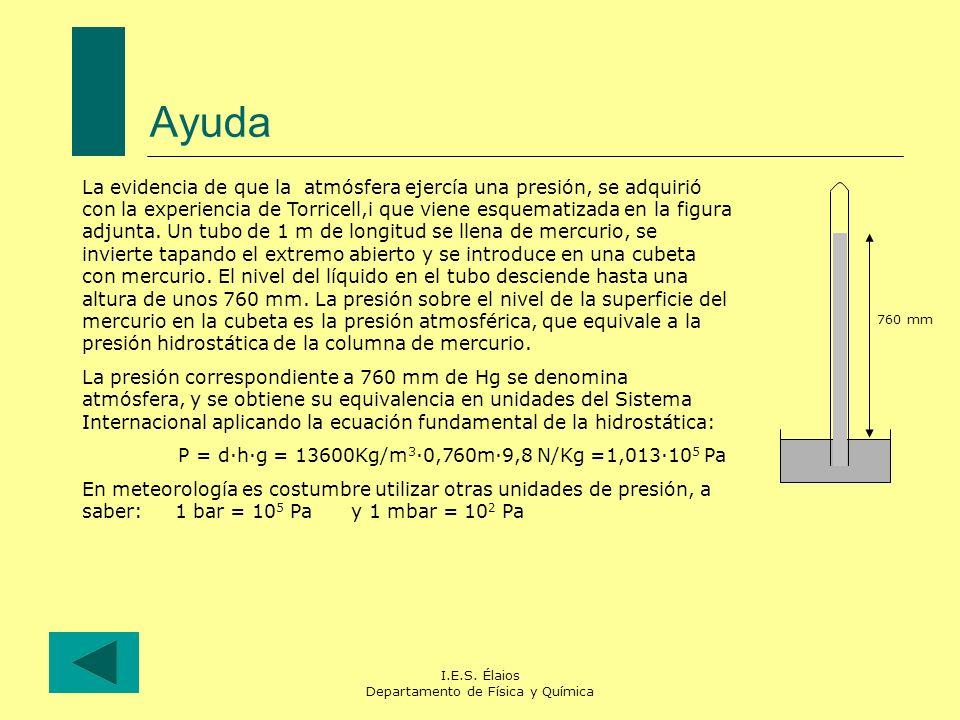 I.E.S. Élaios Departamento de Física y Química Ayuda La evidencia de que la atmósfera ejercía una presión, se adquirió con la experiencia de Torricell
