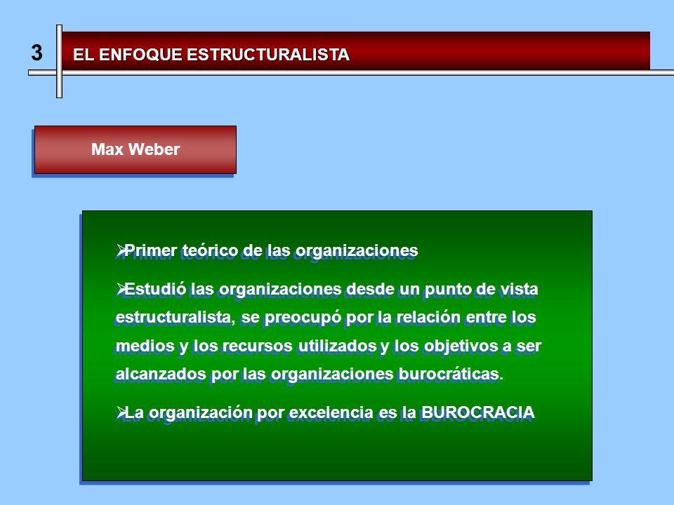 3 EL ENFOQUE ESTRUCTURALISTA Max Weber Primer teórico de las organizaciones Estudió las organizaciones desde un punto de vista estructuralista, se preocupó por la relación entre los medios y los recursos utilizados y los objetivos a ser alcanzados por las organizaciones burocráticas.