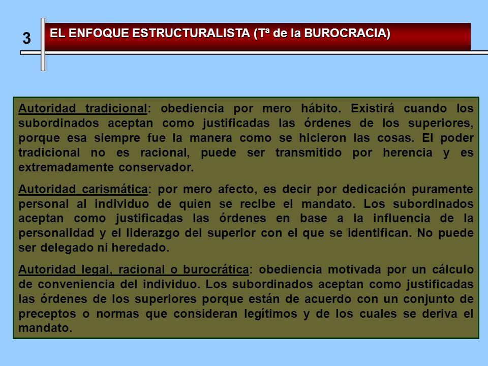3 EL ENFOQUE ESTRUCTURALISTA (Tª de la BUROCRACIA) Autoridad tradicional: obediencia por mero hábito.
