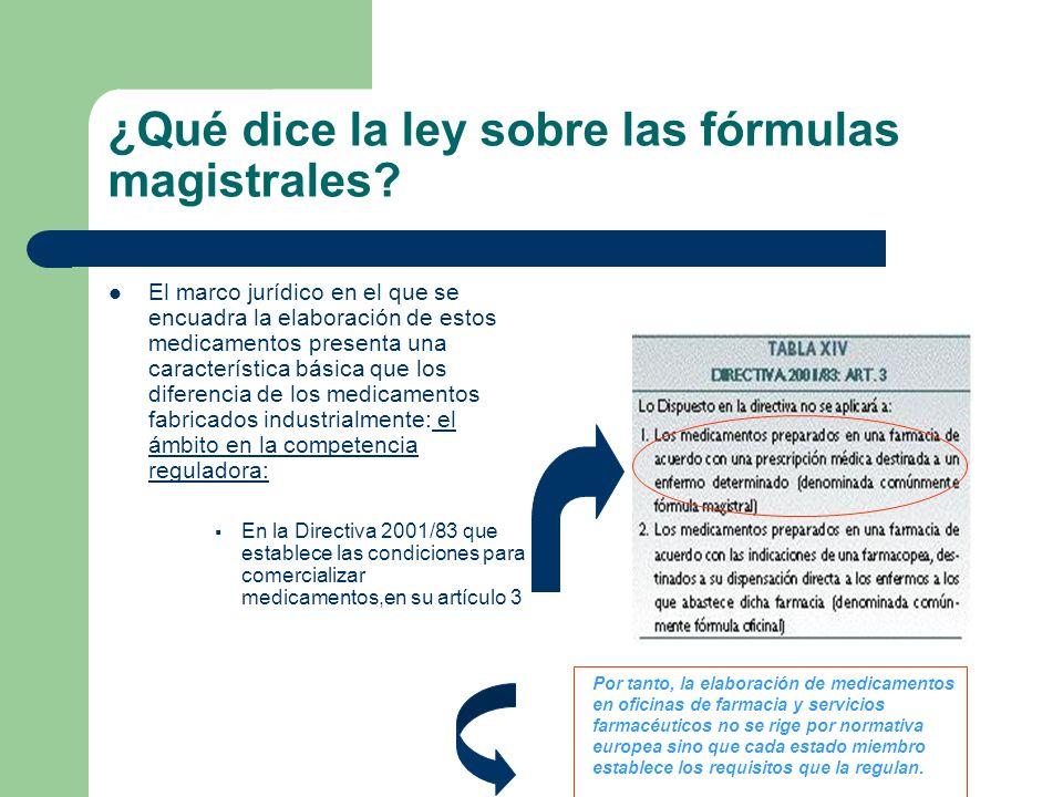 ¿Qué dice la ley sobre las fórmulas magistrales? El marco jurídico en el que se encuadra la elaboración de estos medicamentos presenta una característ