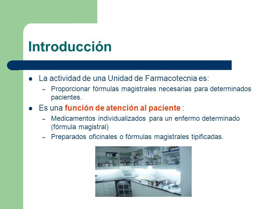 Introducción La actividad de una Unidad de Farmacotecnia es: – Proporcionar fórmulas magistrales necesarias para determinados pacientes. Es una funció