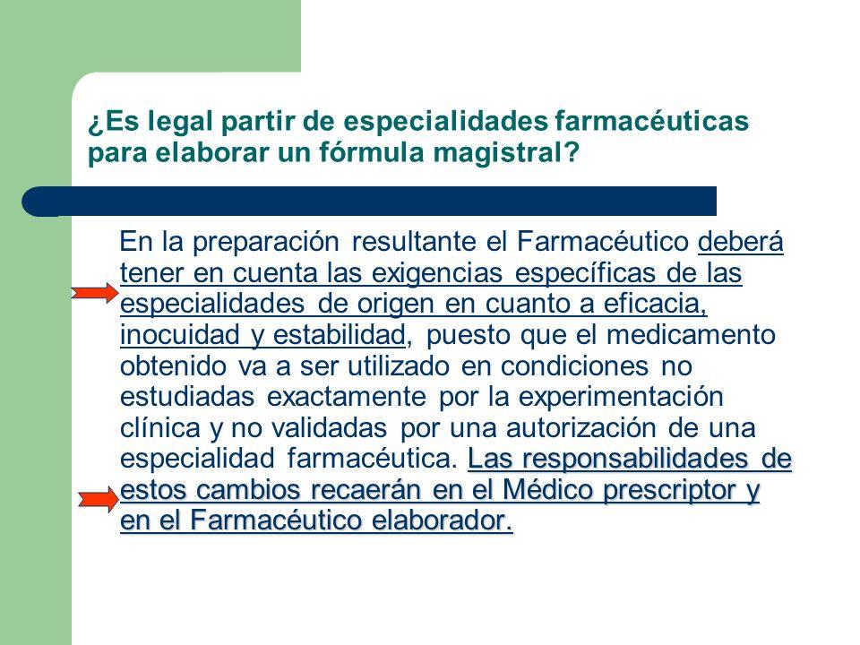 ¿Es legal partir de especialidades farmacéuticas para elaborar un fórmula magistral? Las responsabilidades de estos cambios recaerán en el Médico pres