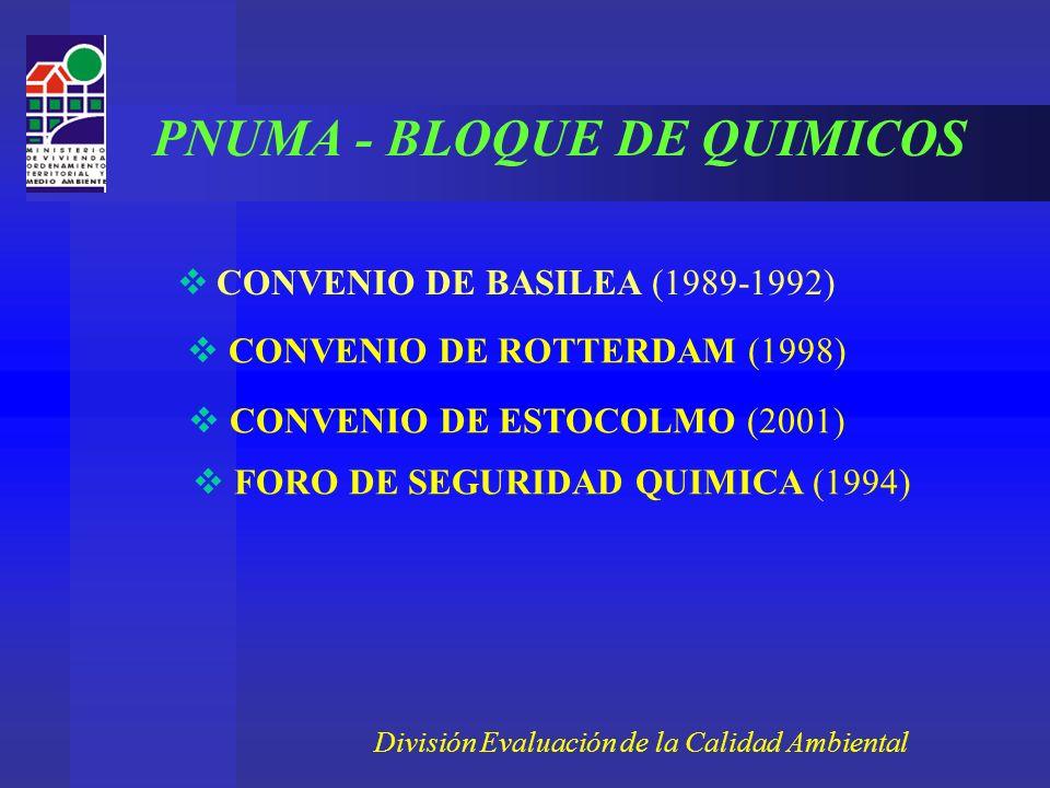 CONVENIO DE BASILEA (1989-1992) CONVENIO DE ROTTERDAM (1998) CONVENIO DE ESTOCOLMO (2001) FORO DE SEGURIDAD QUIMICA (1994) División Evaluación de la Calidad Ambiental PNUMA - BLOQUE DE QUIMICOS