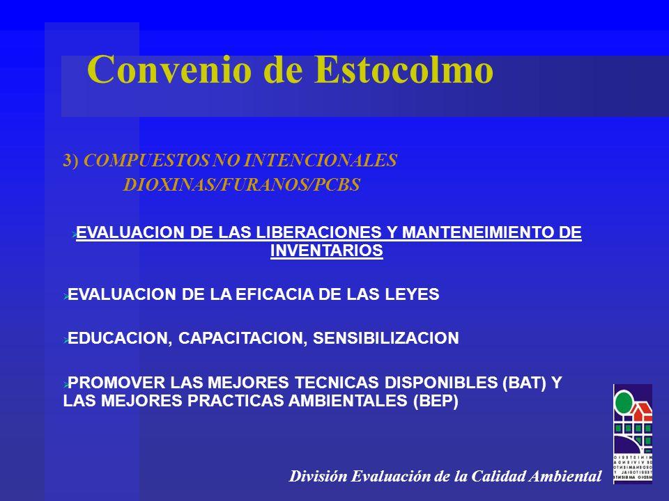 División Evaluación de la Calidad Ambiental 3) COMPUESTOS NO INTENCIONALES DIOXINAS/FURANOS/PCBS EVALUACION DE LAS LIBERACIONES Y MANTENEIMIENTO DE INVENTARIOS EVALUACION DE LA EFICACIA DE LAS LEYES EDUCACION, CAPACITACION, SENSIBILIZACION PROMOVER LAS MEJORES TECNICAS DISPONIBLES (BAT) Y LAS MEJORES PRACTICAS AMBIENTALES (BEP) Convenio de Estocolmo