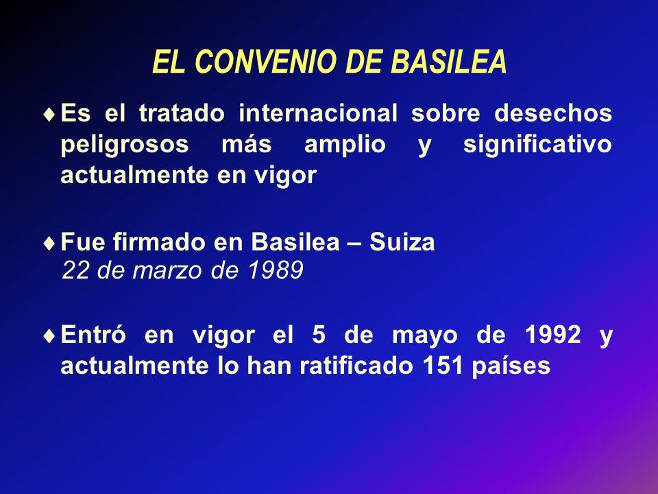 EL CONVENIO DE BASILEA Es el tratado internacional sobre desechos peligrosos más amplio y significativo actualmente en vigor Fue firmado en Basilea – Suiza 22 de marzo de 1989 Entró en vigor el 5 de mayo de 1992 y actualmente lo han ratificado 151 países