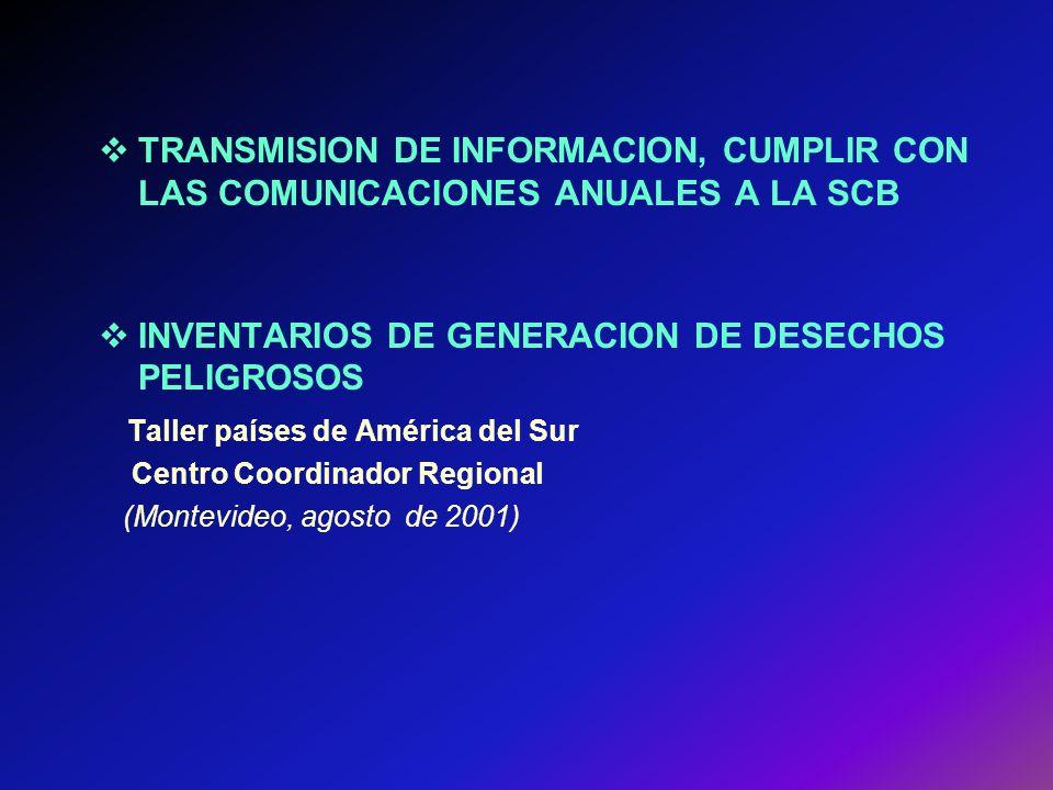 TRANSMISION DE INFORMACION, CUMPLIR CON LAS COMUNICACIONES ANUALES A LA SCB INVENTARIOS DE GENERACION DE DESECHOS PELIGROSOS Taller países de América del Sur Centro Coordinador Regional (Montevideo, agosto de 2001)