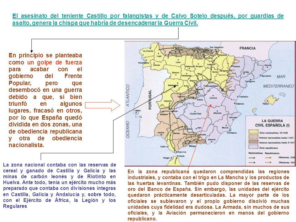 El asesinato del teniente Castillo por falangistas y de Calvo Sotelo después, por guardias de asalto, genera la chispa que habría de desencadenar la Guerra Civil.