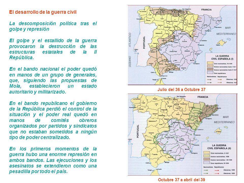 El desarrollo de la guerra civil La descomposición política tras el golpe y represión El golpe y el estallido de la guerra provocaron la destrucción de las estructuras estatales de la II República.