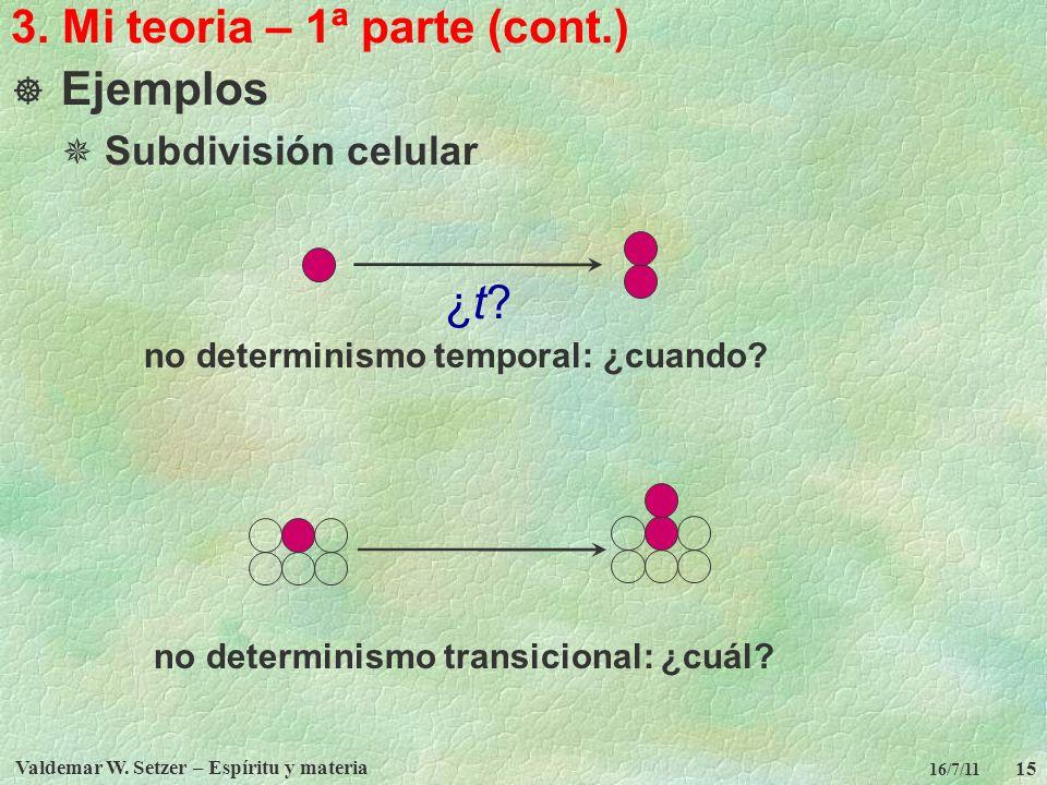 Valdemar W. Setzer – Espíritu y materia 15 16/7/11 3. Mi teoria – 1ª parte (cont.) Ejemplos Subdivisión celular no determinismo temporal: ¿cuando? no