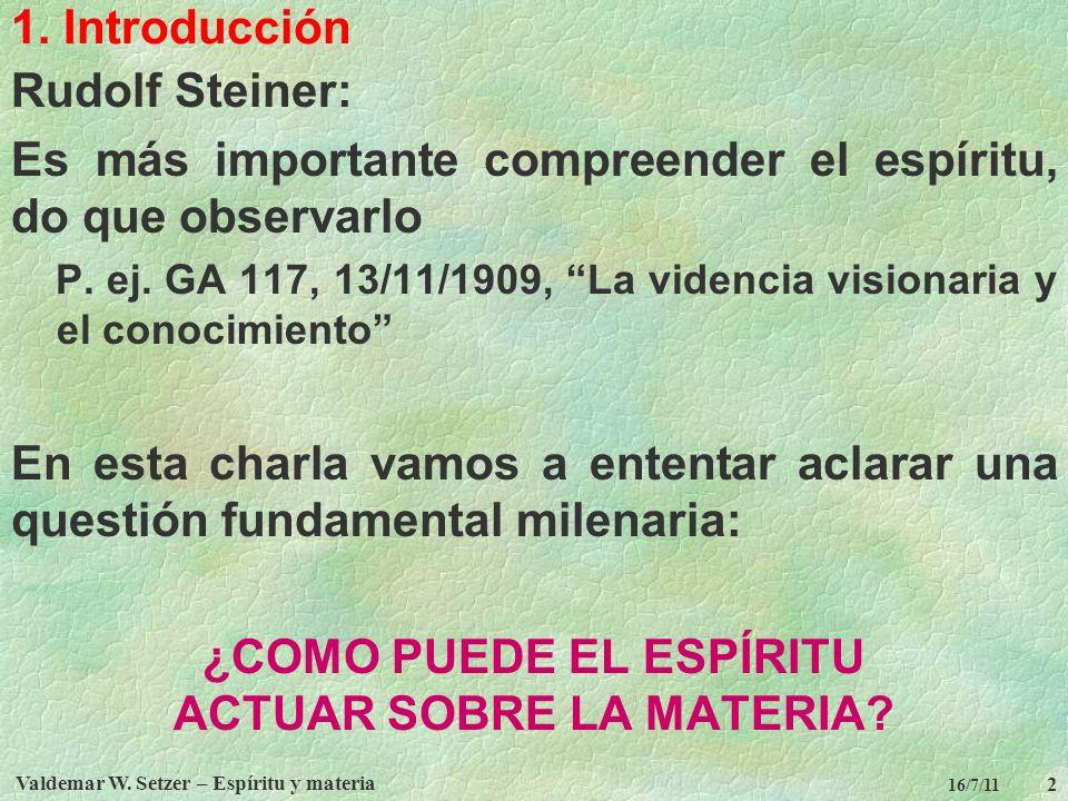 Valdemar W. Setzer – Espíritu y materia 2 16/7/11 1. Introducción Rudolf Steiner: Es más importante compreender el espíritu, do que observarlo P. ej.