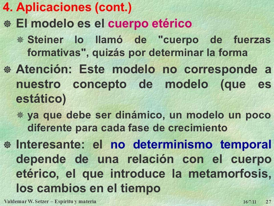 Valdemar W. Setzer – Espíritu y materia 27 16/7/11 4. Aplicaciones (cont.) El modelo es el cuerpo etérico Steiner lo llamó de