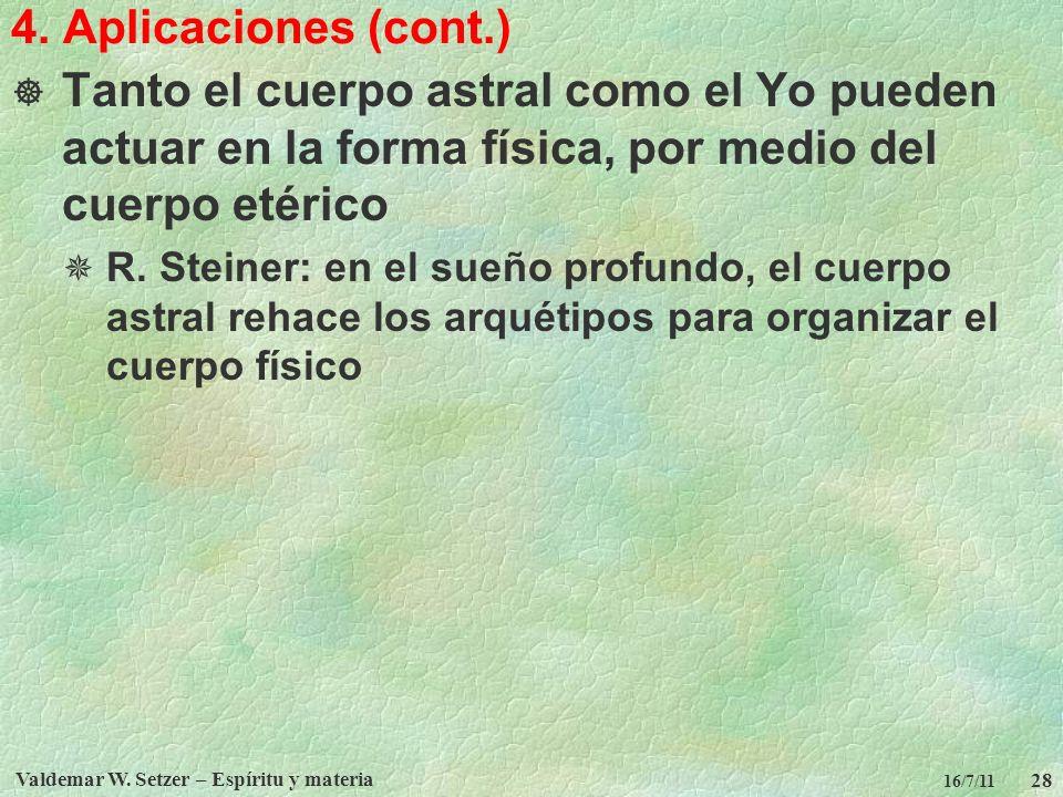 Valdemar W. Setzer – Espíritu y materia 28 16/7/11 4. Aplicaciones (cont.) Tanto el cuerpo astral como el Yo pueden actuar en la forma física, por med