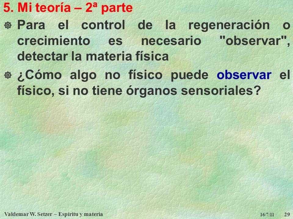 Valdemar W. Setzer – Espíritu y materia 29 16/7/11 5. Mi teoría – 2ª parte Para el control de la regeneración o crecimiento es necesario