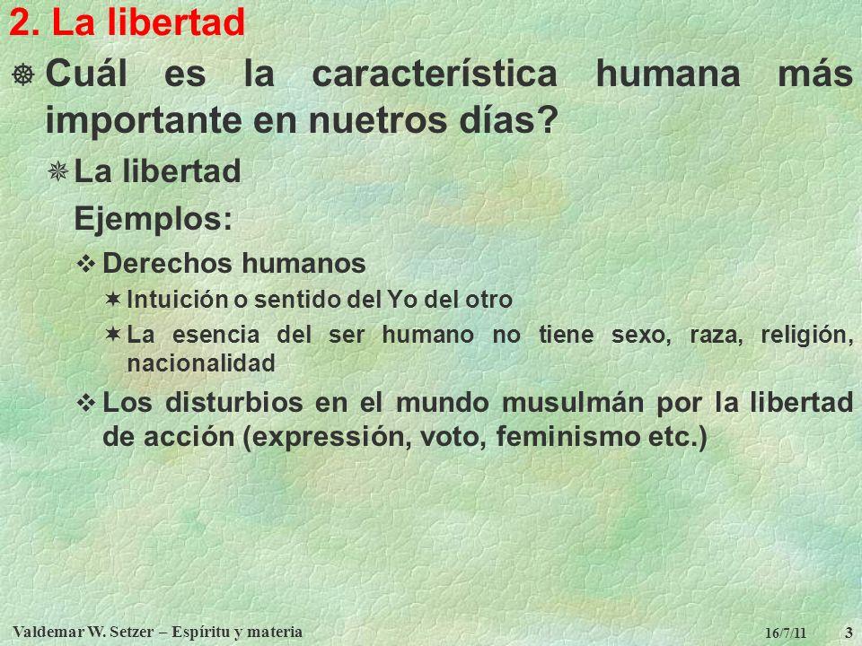 Valdemar W. Setzer – Espíritu y materia 3 16/7/11 2. La libertad Cuál es la característica humana más importante en nuetros días? La libertad Ejemplos