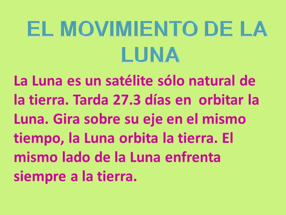 La Luna es un satélite sólo natural de la tierra. Tarda 27.3 días en orbitar la Luna. Gira sobre su eje en el mismo tiempo, la Luna orbita la tierra.