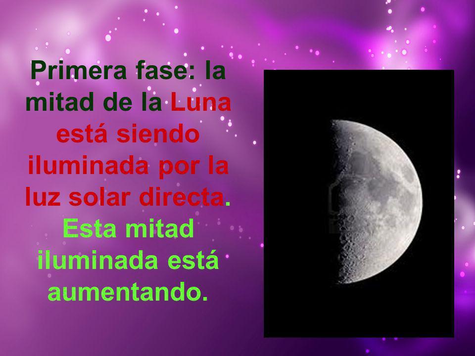 Primera fase: la mitad de la Luna está siendo iluminada por la luz solar directa. Esta mitad iluminada está aumentando.