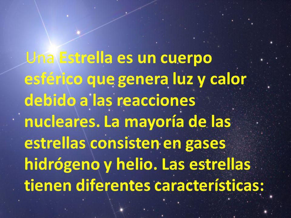Una Estrella es un cuerpo esférico que genera luz y calor debido a las reacciones nucleares. La mayoría de las estrellas consisten en gases hidrógeno