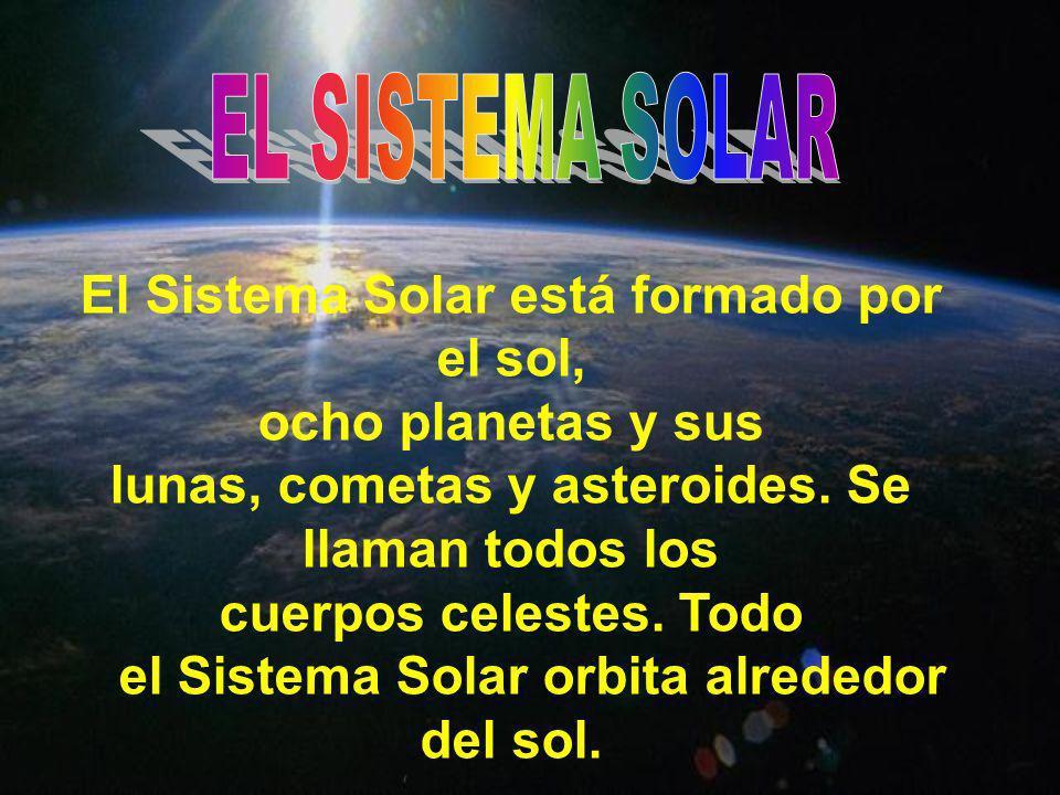 El Sistema Solar está formado por el sol, ocho planetas y sus lunas, cometas y asteroides. Se llaman todos los cuerpos celestes. Todo el Sistema Solar