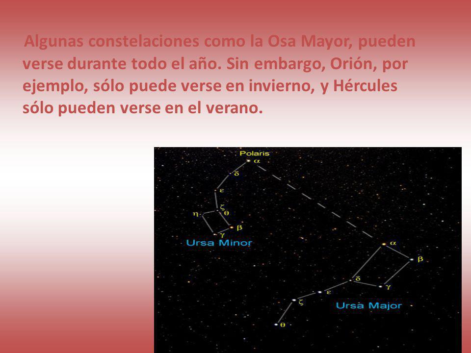 Algunas constelaciones como la Osa Mayor, pueden verse durante todo el año. Sin embargo, Orión, por ejemplo, sólo puede verse en invierno, y Hércules