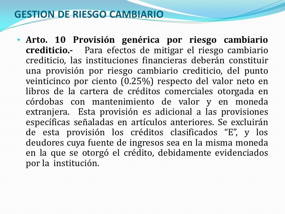 GESTION DE RIESGO CAMBIARIO Arto. 10 Provisión genérica por riesgo cambiario crediticio.- Para efectos de mitigar el riesgo cambiario crediticio, las