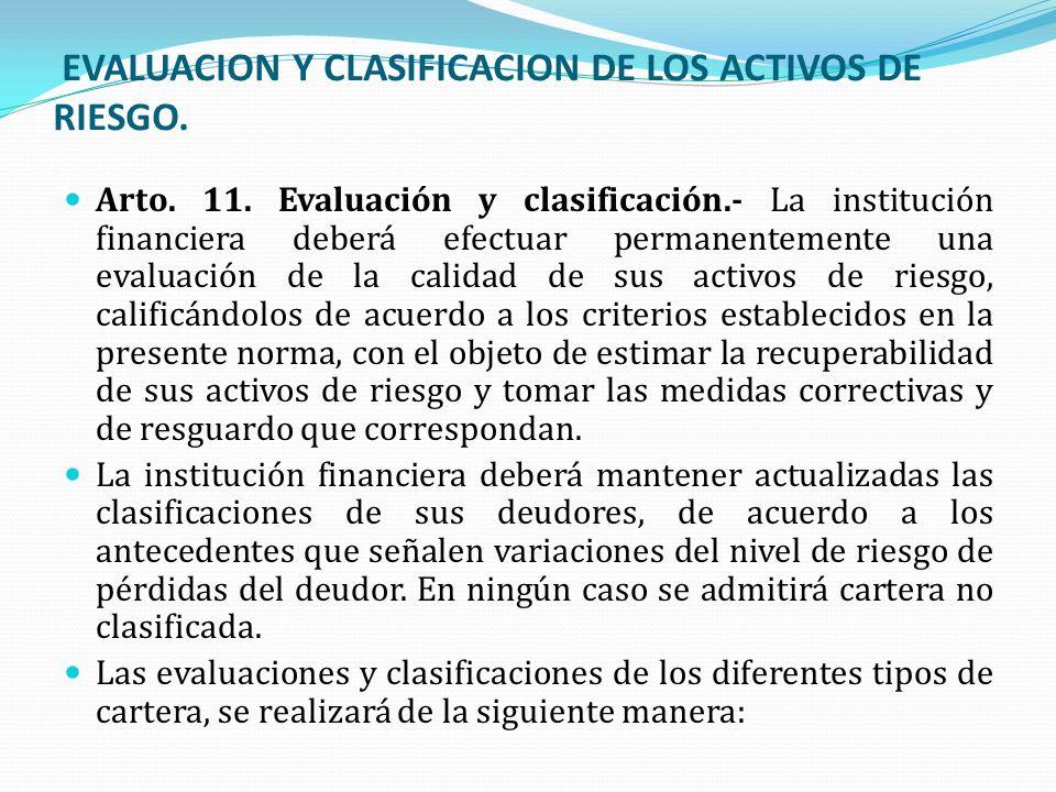 EVALUACION Y CLASIFICACION DE LOS ACTIVOS DE RIESGO. Arto. 11. Evaluación y clasificación.- La institución financiera deberá efectuar permanentemente