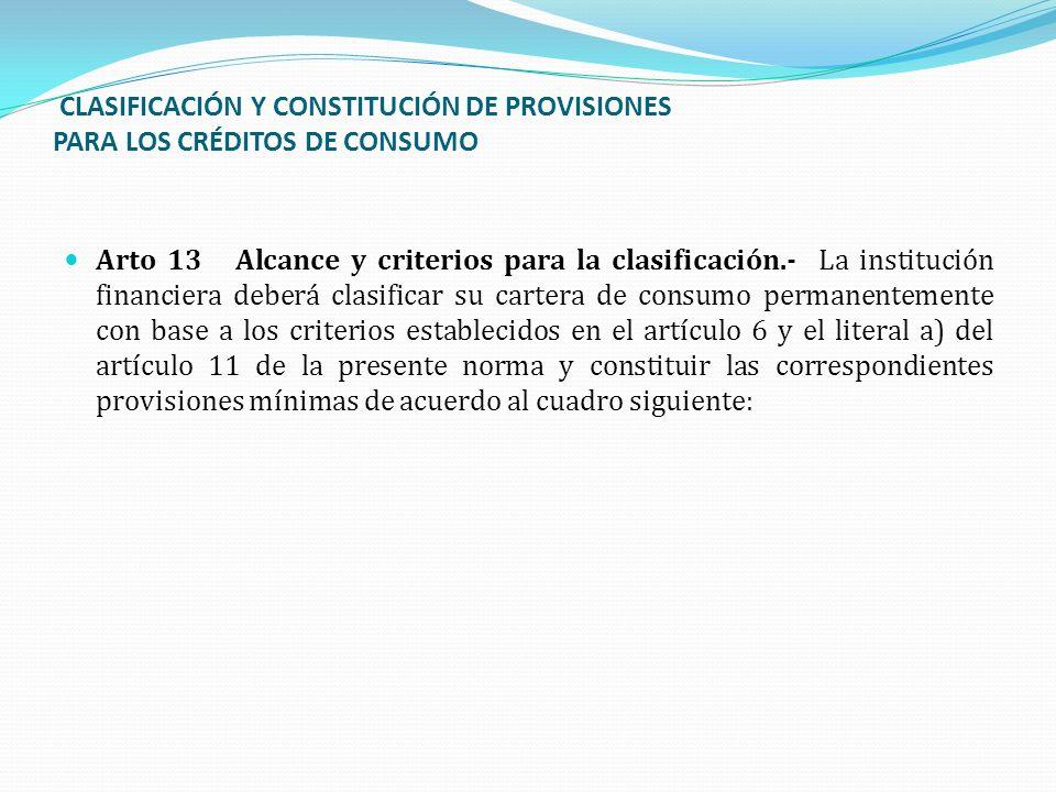 CLASIFICACIÓN Y CONSTITUCIÓN DE PROVISIONES PARA LOS CRÉDITOS DE CONSUMO Arto 13 Alcance y criterios para la clasificación.- La institución financiera
