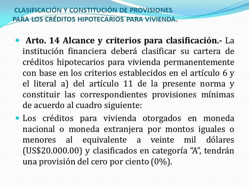 CLASIFICACIÓN Y CONSTITUCIÓN DE PROVISIONES PARA LOS CRÉDITOS HIPOTECARIOS PARA VIVIENDA. Arto. 14 Alcance y criterios para clasificación.- La institu