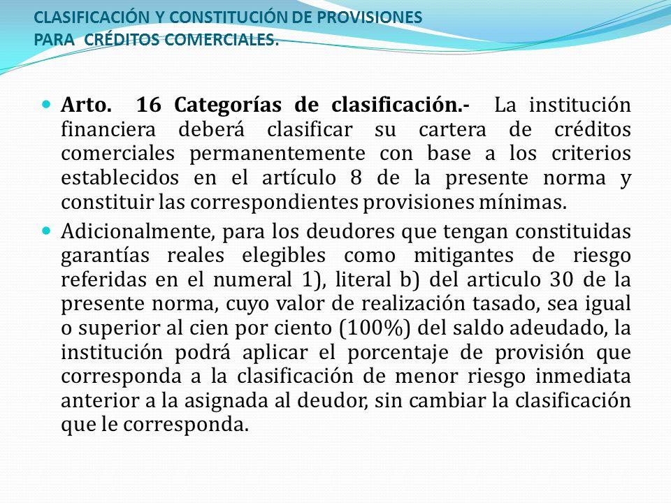 CLASIFICACIÓN Y CONSTITUCIÓN DE PROVISIONES PARA CRÉDITOS COMERCIALES. Arto. 16 Categorías de clasificación.- La institución financiera deberá clasifi