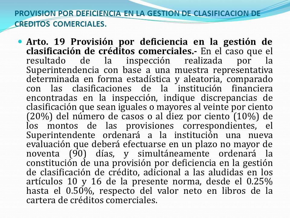 PROVISION POR DEFICIENCIA EN LA GESTION DE CLASIFICACION DE CREDITOS COMERCIALES. Arto. 19 Provisión por deficiencia en la gestión de clasificación de